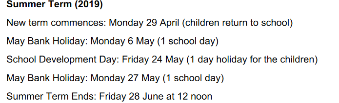 Summer Time Table School10