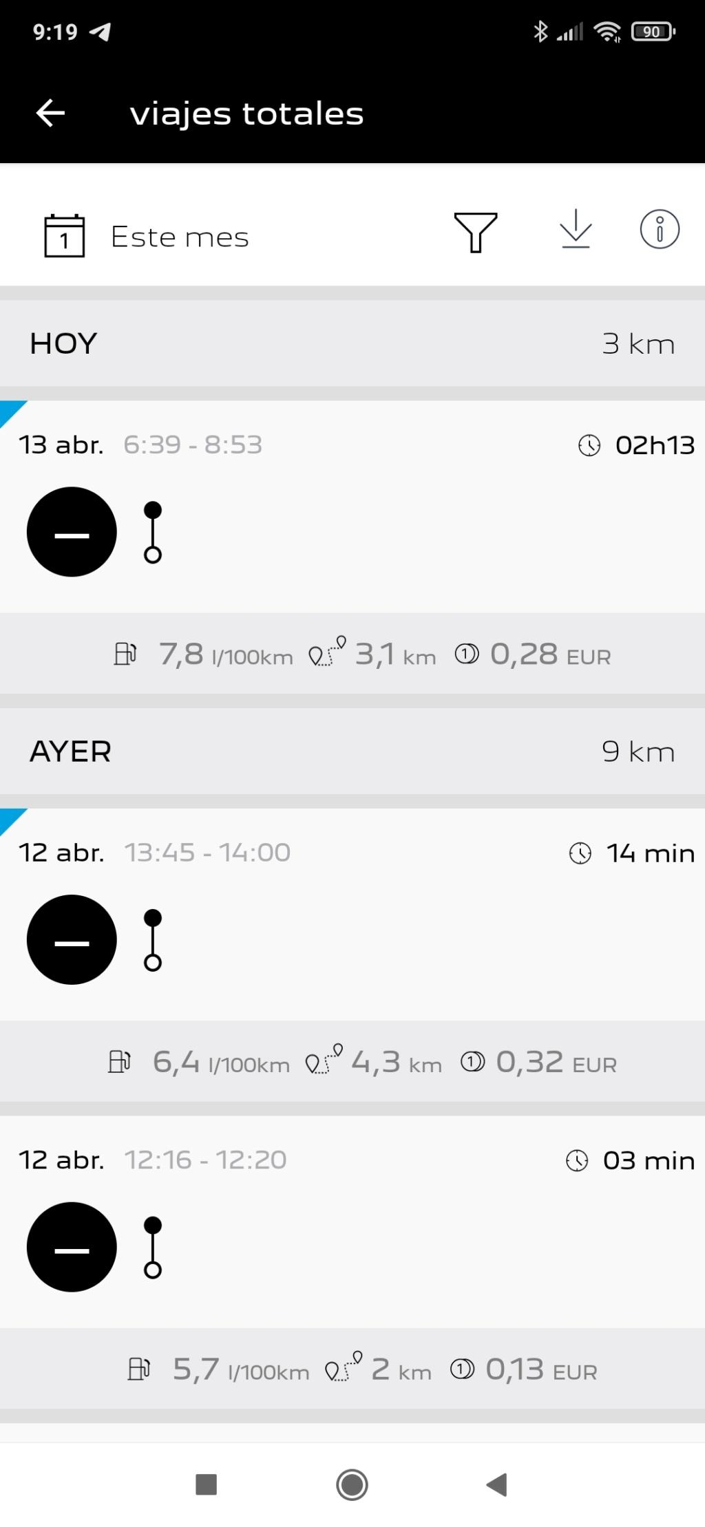App MyPeugeot y  hora incorrecta en los viajes Screen10