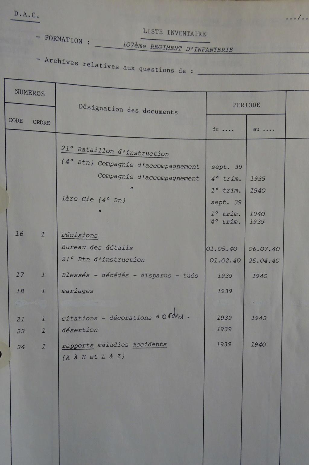 Les bataillons de disponibles ou XXIe Bataillon de RI 107-0410