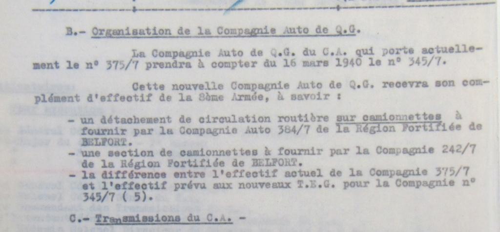 Cie 345/7 - Cie Auto de QG du train de Forteresse (45e CAF) 19400212