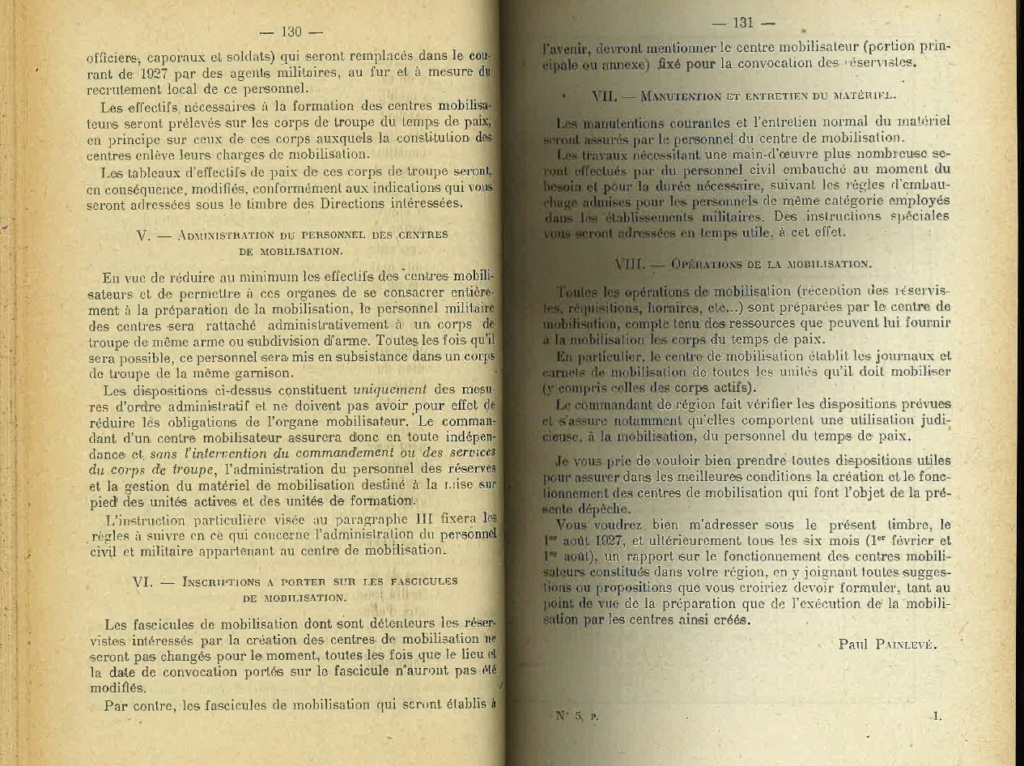Centre de Mobilisation : Création et organisation + liste 1930 Bopp-110
