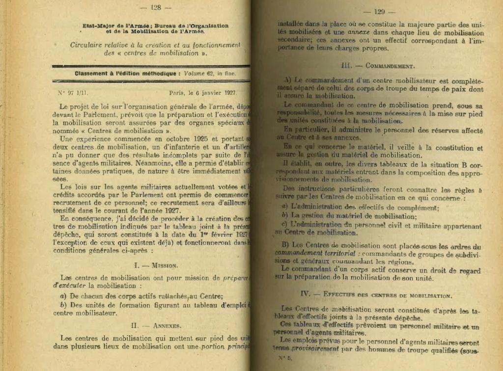 Centre de Mobilisation : Création et organisation + liste 1930 Bopp-112