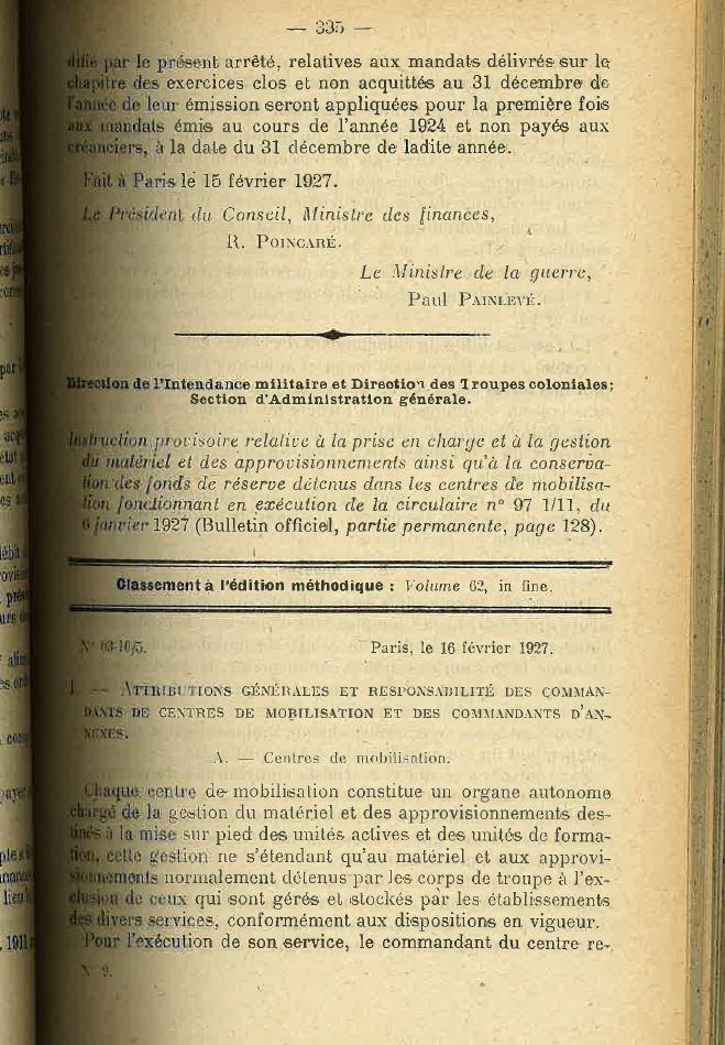 Centre de Mobilisation : Création et organisation + liste 1930 Bopp-121