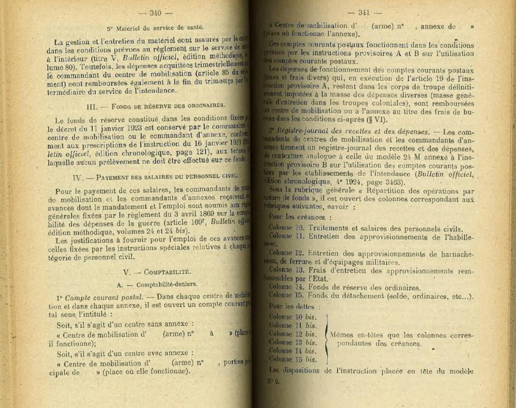 Centre de Mobilisation : Création et organisation + liste 1930 Bopp-124