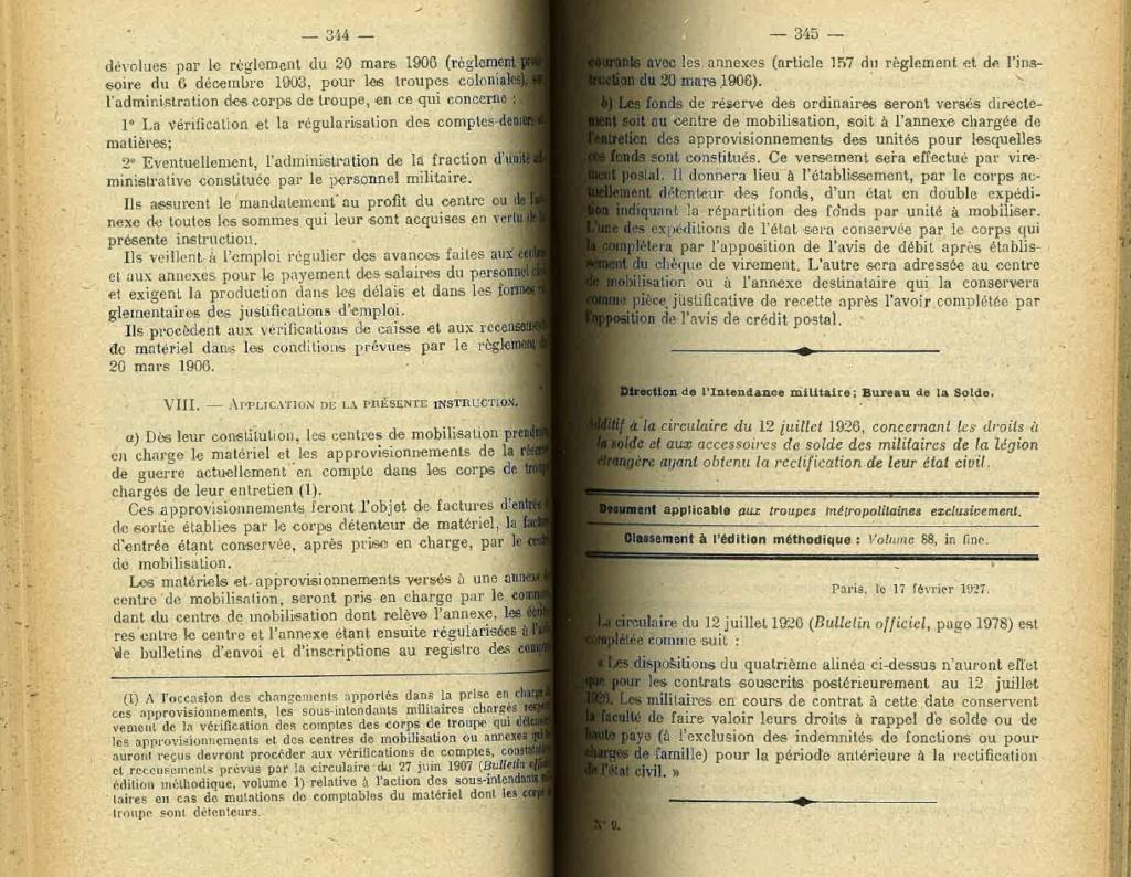 Centre de Mobilisation : Création et organisation + liste 1930 Bopp-125