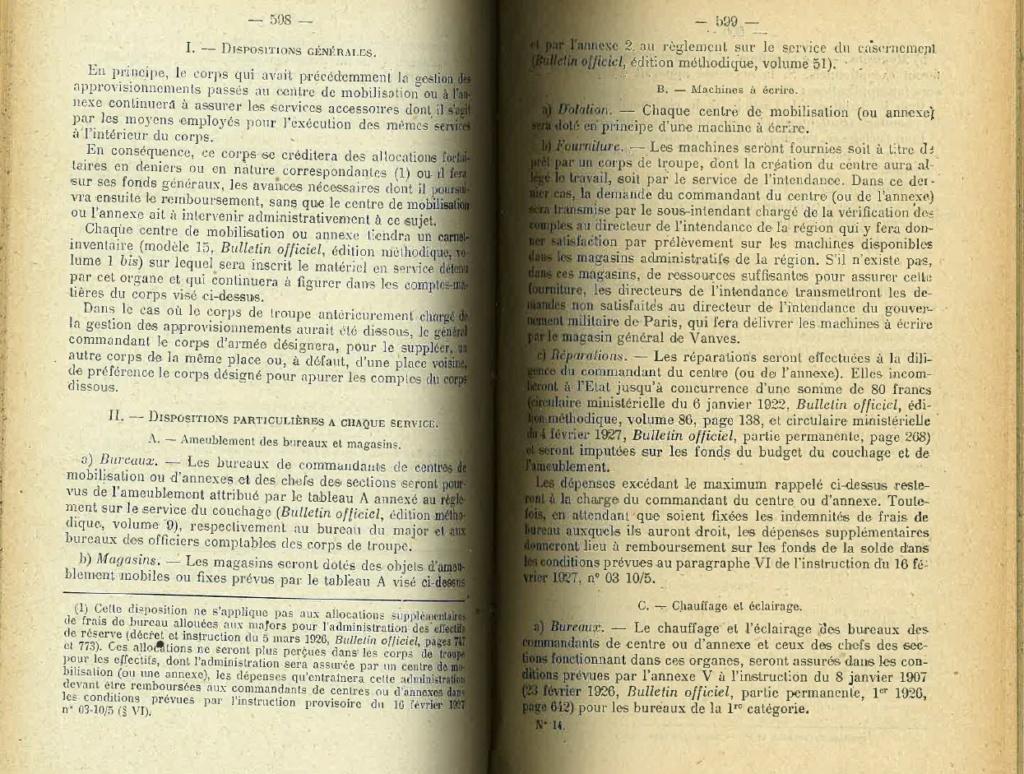 Centre de Mobilisation : Création et organisation + liste 1930 Bopp-129