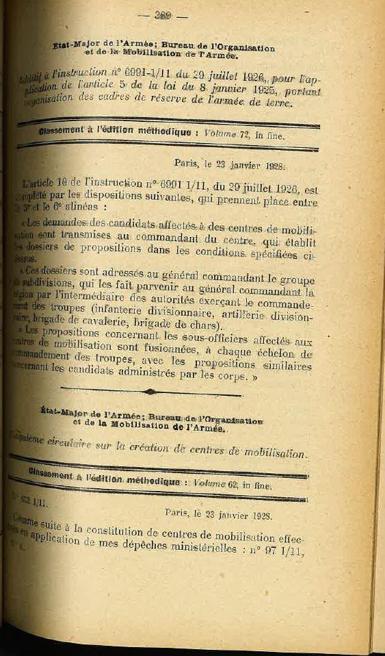 Centre de Mobilisation : Création et organisation + liste 1930 Bopp-136