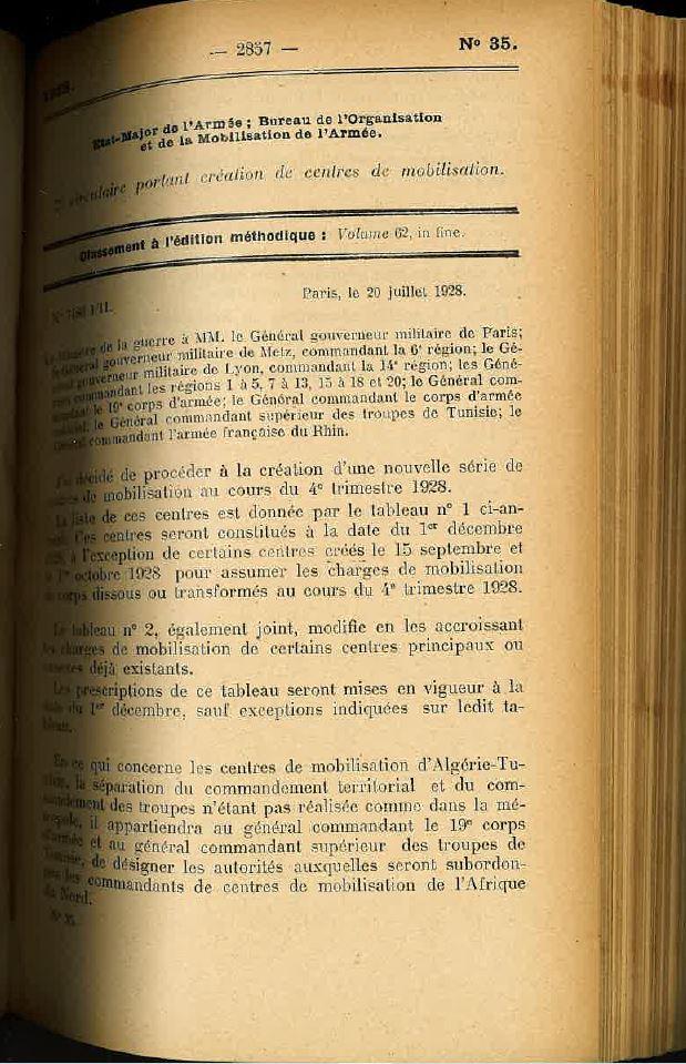 Centre de Mobilisation : Création et organisation + liste 1930 Bopp-140