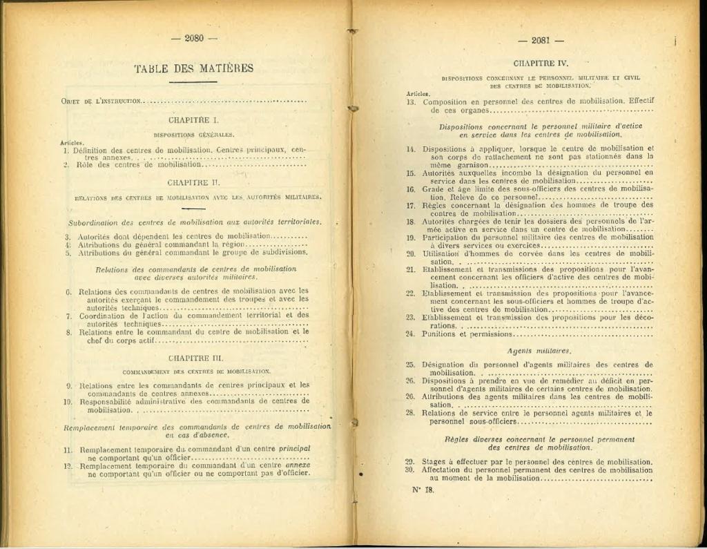 Centre de Mobilisation : Création et organisation + liste 1930 Bopp-184