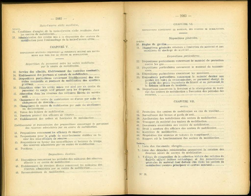 Centre de Mobilisation : Création et organisation + liste 1930 Bopp-185