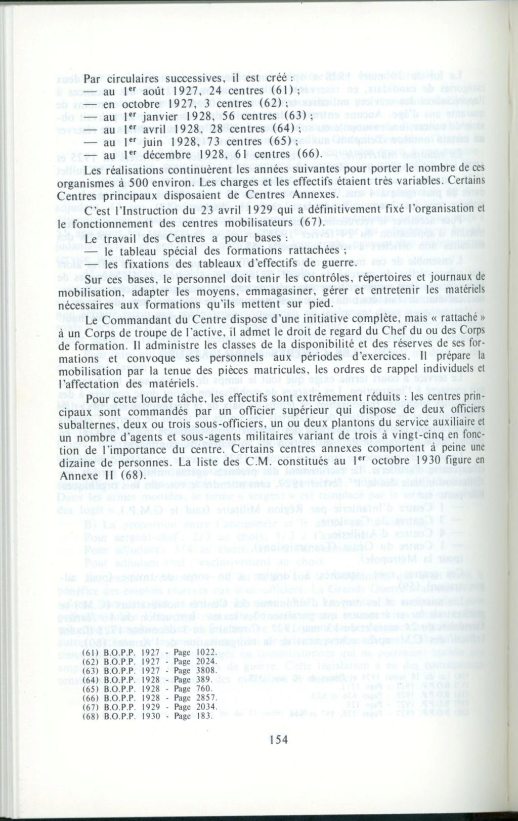 Centre de Mobilisation : Création et organisation + liste 1930 Detail14