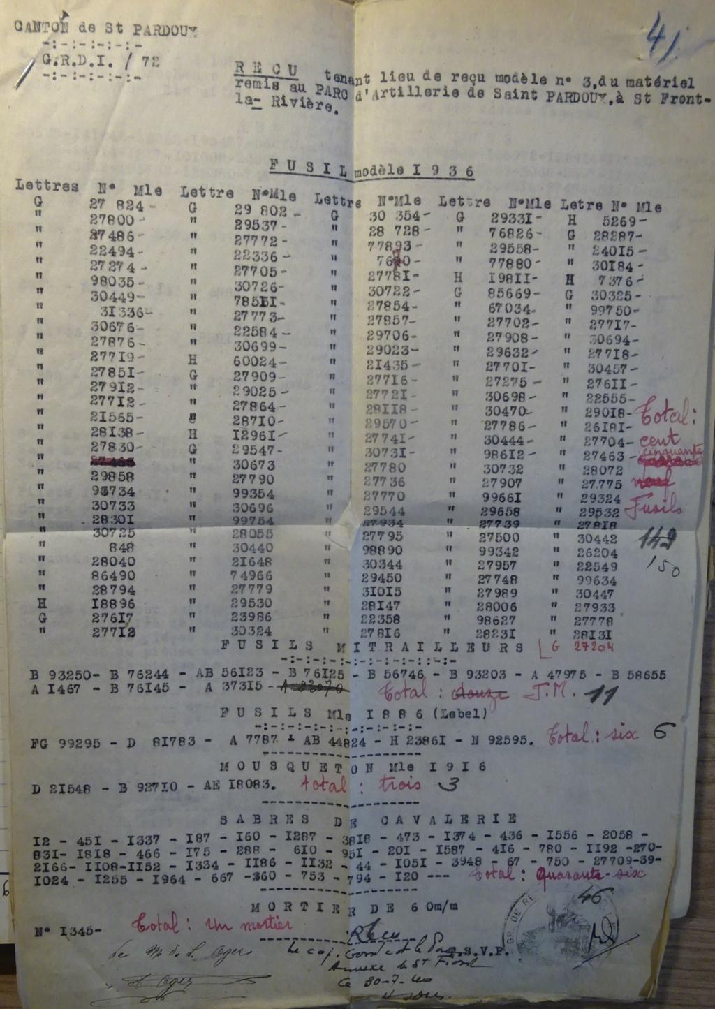 Des N° de série mitrailleuses, FM et même un Mortier Dsc07622