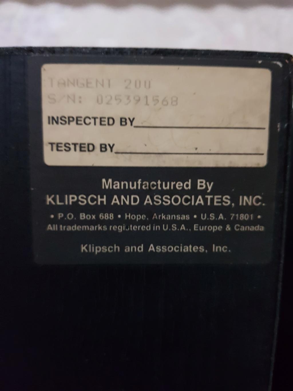 Klipsch Tangent 200 Horn Speakers (used) 20200416