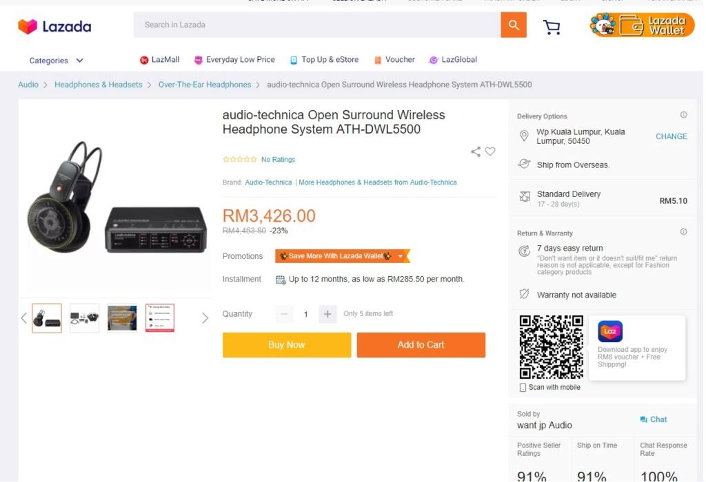 audio-technica Digital Wireless Dolby digital DTS Headphone System(Used) Audio-10
