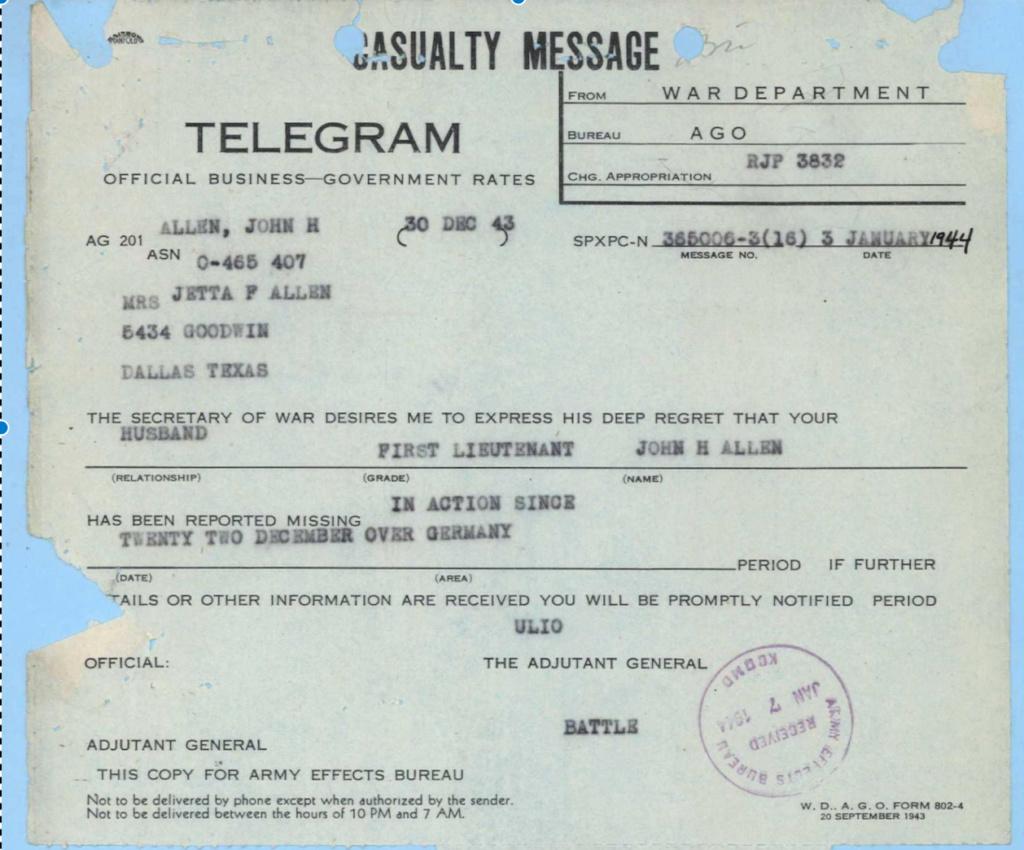 1st Ltn Allen, 8th USAAF, KIA 1943 Fullsi10