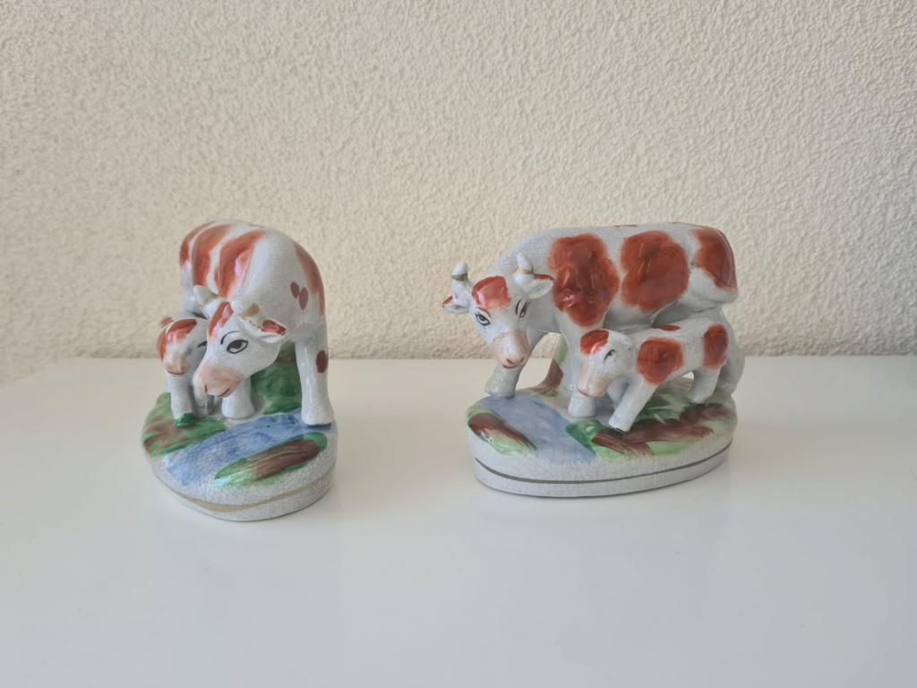 Cow & calf figurines - Staffordshire? earthenware ? 20200811