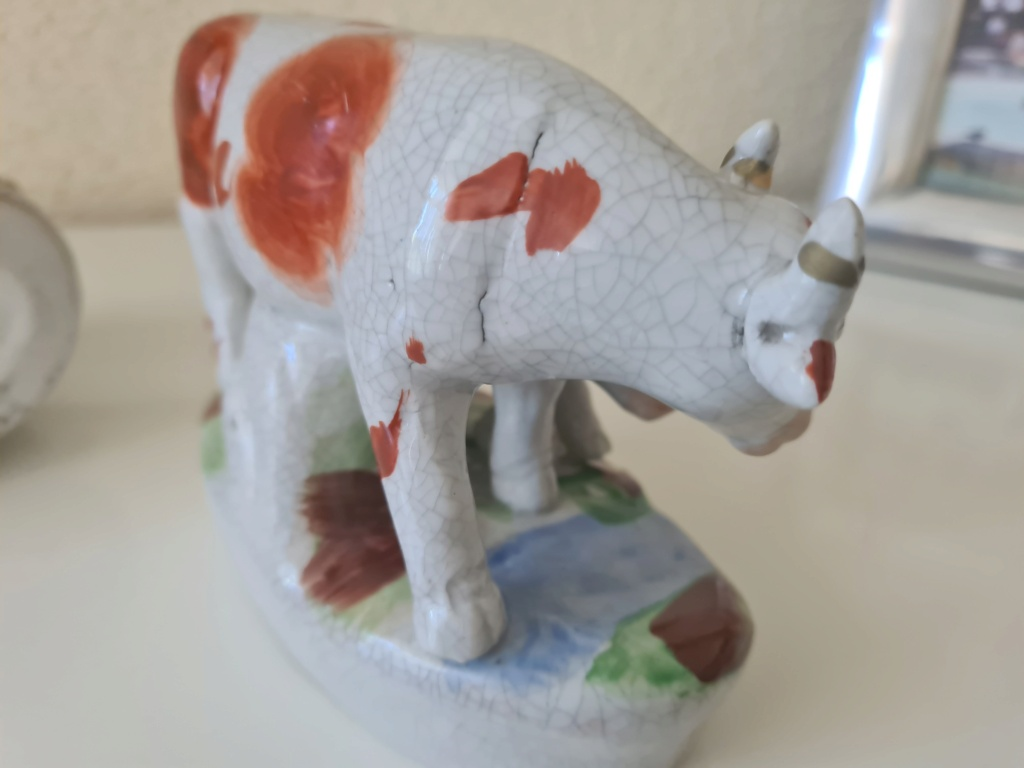 Cow & calf figurines - Staffordshire? earthenware ? 20200819