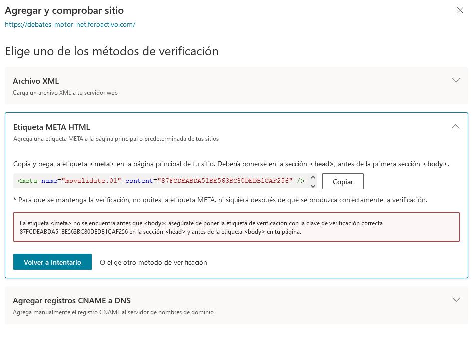 falla la  verificación al incluir bing en mis motores de búsqueda por el método meta Meta_b10