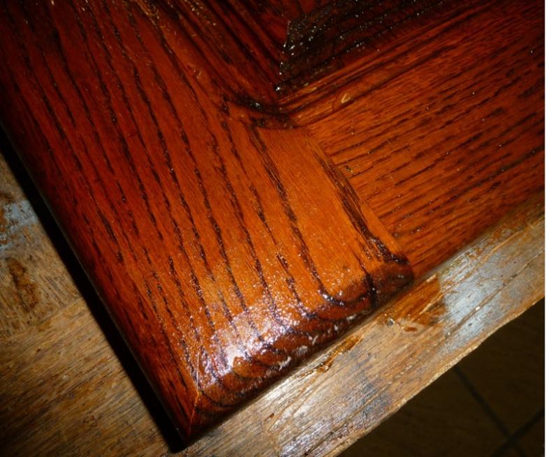 Cérusage d'un meuble en chêne 0110