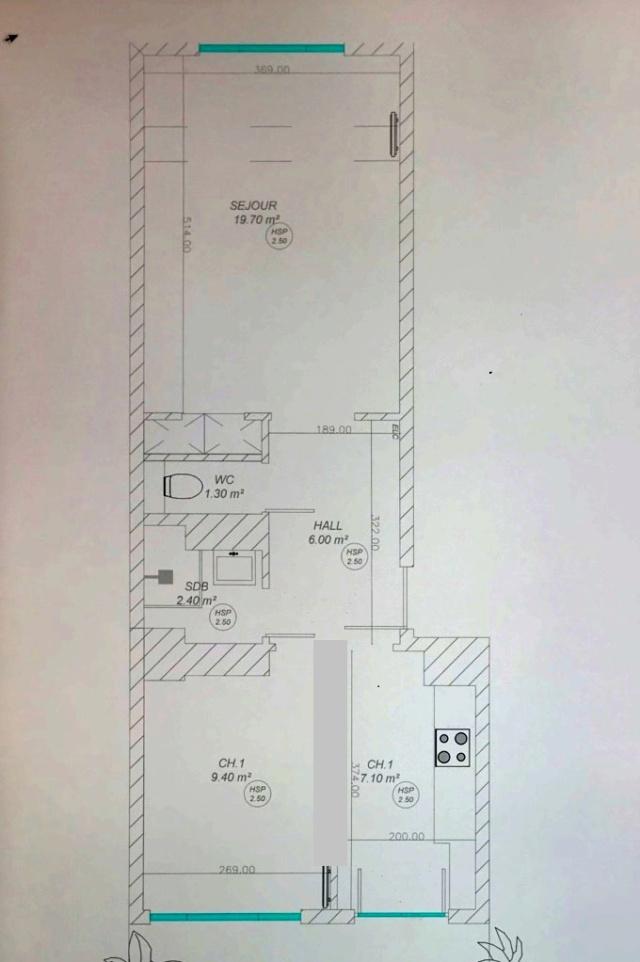 Réaménagement petit appartement Mur_ab10