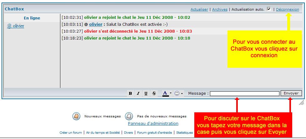 La ChatBox du forum est activée Chatbo10