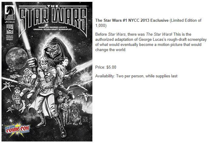 THE STAR WARS - Comics Dark Horse Nycc2010