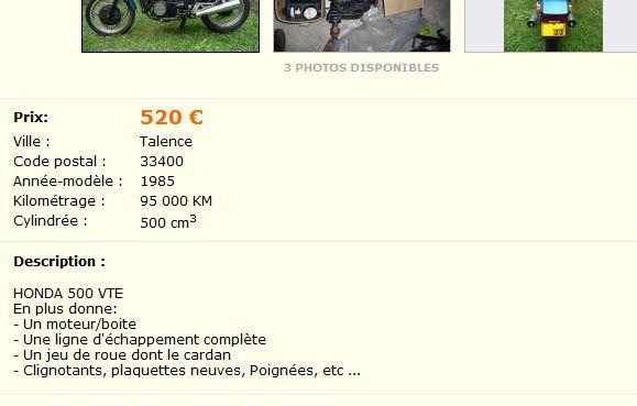 LBC 500 vte + pieces 500euros ( bordeaux gironde ) Vte110