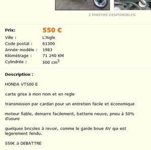 Honda vt500 e sur le bon coin, à 550 € Vttt10