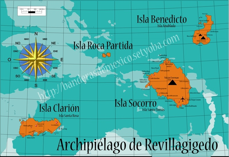 Archipiélago de Revillagigedo, tesoro pirata. Mapa_d10