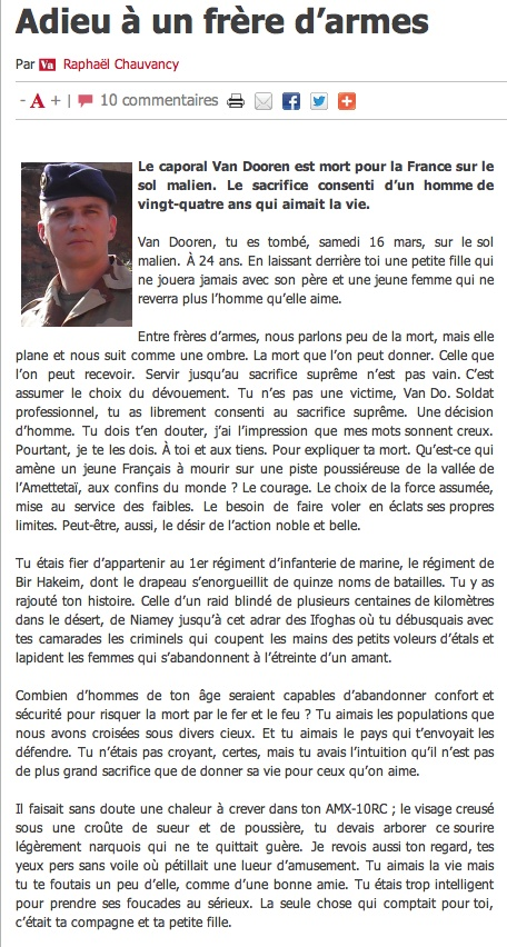 Caporal Van Dooren  du 1er RIMa d'Angoulème tué au combat au sud de Tessalit un cinqième soldat au Mali Clicha68
