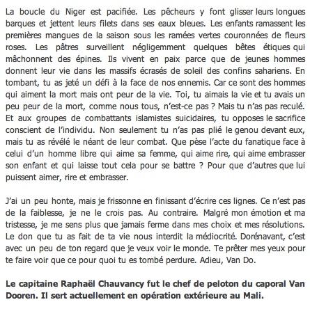 Caporal Van Dooren  du 1er RIMa d'Angoulème tué au combat au sud de Tessalit un cinqième soldat au Mali Clicha69