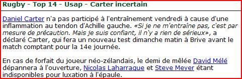 CA Brive 15 - 18 USAP Carter11
