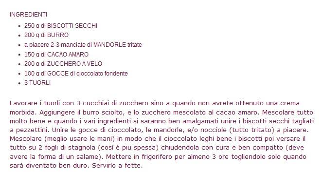 Salame al cioccolato Salame10