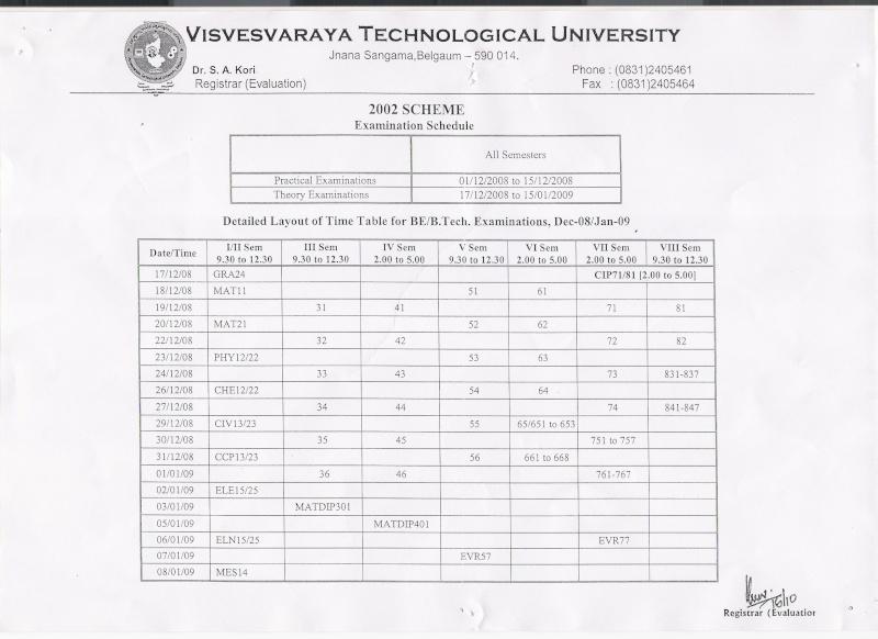 3rd sem time table for cs.... Exam11