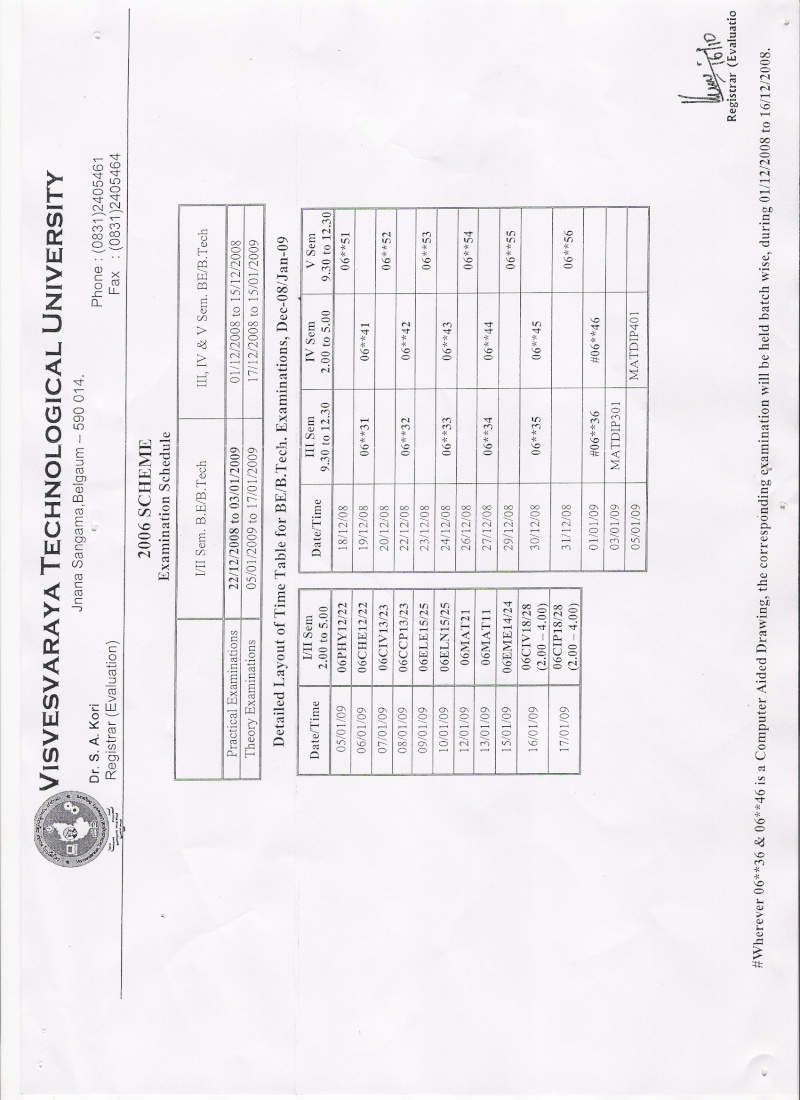 enquiring time table Exam111