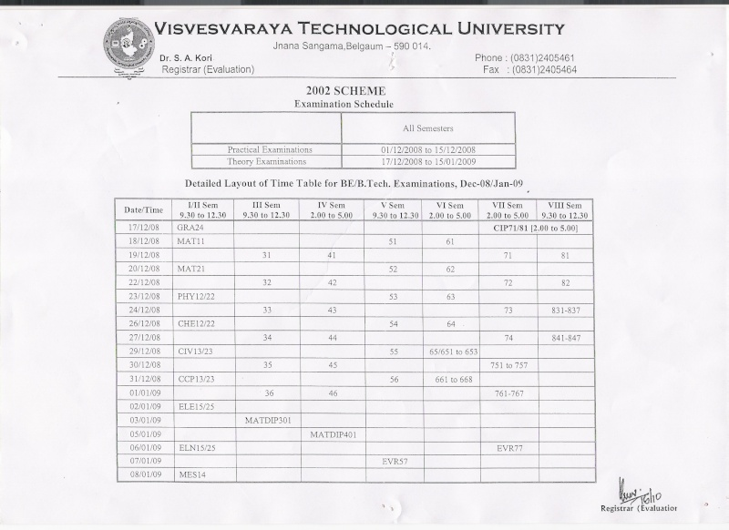enquiring time table Exam12