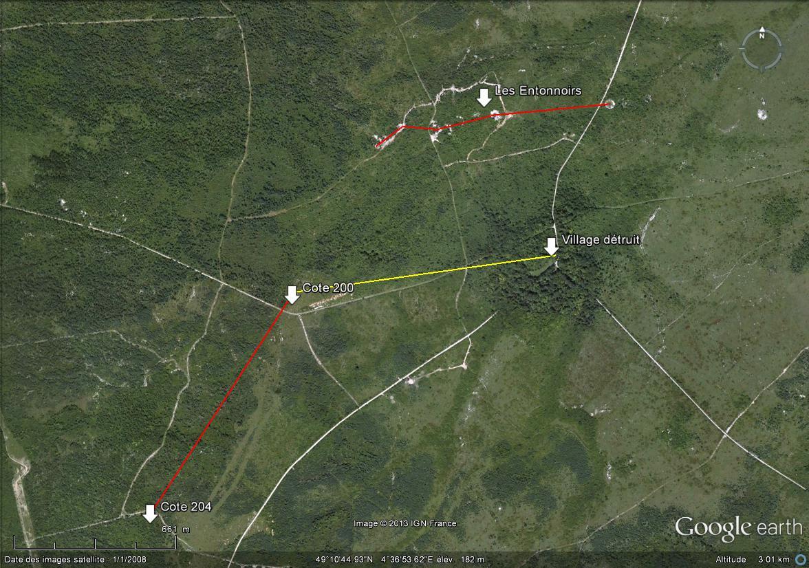 """Vestiges de la """"guerre des mines"""" (Première Guerre Mondiale) visibles dans Google Earth - Page 3 Cote_e10"""
