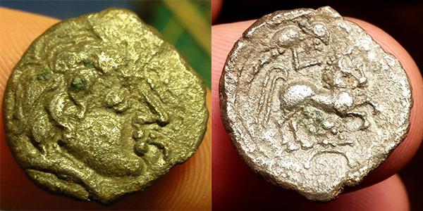 bronze gaulois au cheval et profil à droite à identifier Ncgnru10