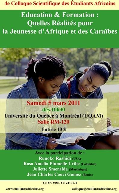Quelles Réalités pour la Jeunesse d'Afrique et des Caraïbes - 5 mars Montreal Affich10