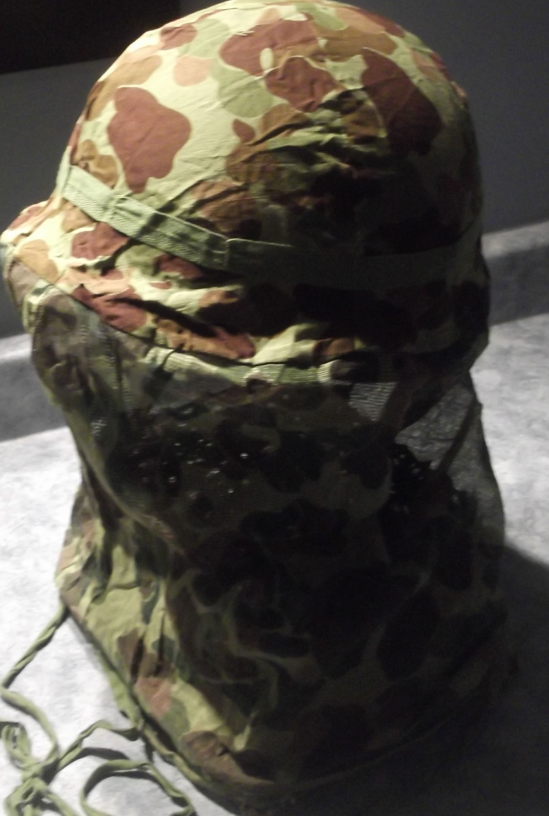 Couvre casque USMC dit mosquito sur M1 US Navy 1943 Dscf7141