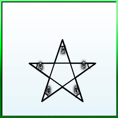 Qual é a soma dos ângulos internos dessa estrela de cinco pontas? Soma_d10