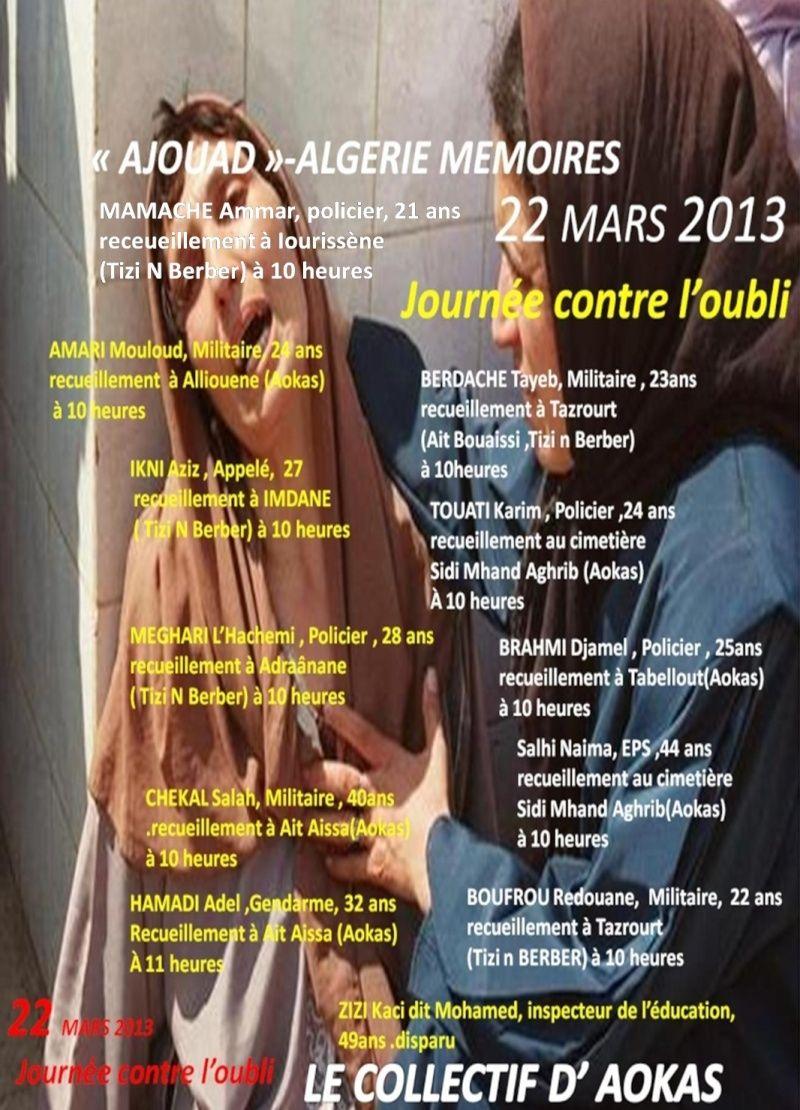 """Le collectif d'Aokas- """"Ajouad"""" Algerie Memoires: 22 mars 2013, journée contre l'oubli Image116"""