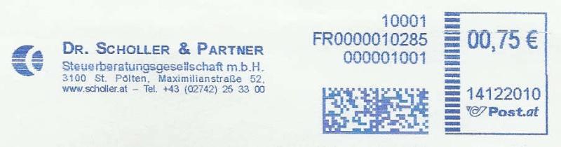 Freistempel mit Matrix-Code aus Östererreich Datama11
