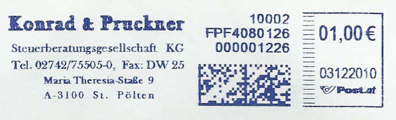 Freistempel mit Matrix-Code aus Östererreich Datama12