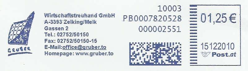 Freistempel mit Matrix-Code aus Östererreich Datama13