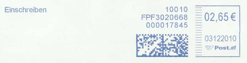 Freistempel mit Matrix-Code aus Östererreich Datama14