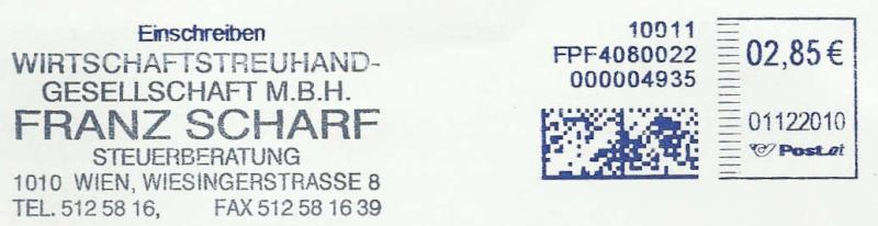 Freistempel mit Matrix-Code aus Östererreich Datama15