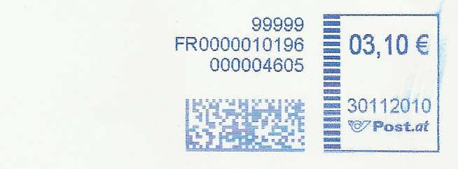 Freistempel mit Matrix-Code aus Östererreich Datama16