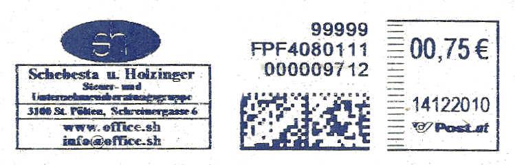 Freistempel mit Matrix-Code aus Östererreich Datama17