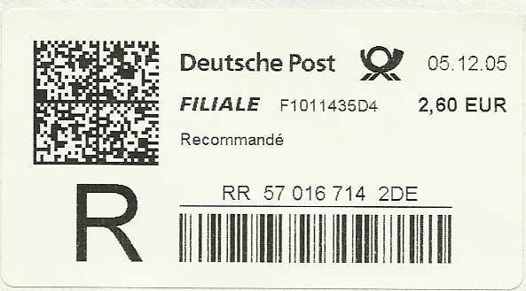 Reco-Aufkleber der Deutschen Post Dreco710